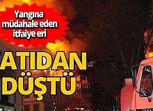 Bursa'da yangına müdahale eden itfaiye eri Ayhan Yavuz 2. kattan düşerek yaralandı
