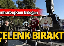 Cumhurbaşkanı Erdoğan KKTC'de: Atatürk Anıtı'na çelenk bıraktı