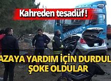 Gaziantep'te kazayı görüp yardım için durdular! Hayatlarının şokunu yaşadılar