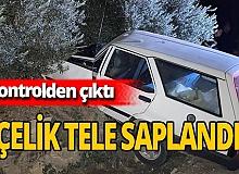 Kontrolden çıkan araç kaza yaptı