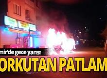 Park halindeki araç önce alev aldı ardından patladı