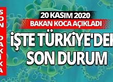 SON DAKİKA! 20 Kasım 2020 Cuma koronavirüs tablosu