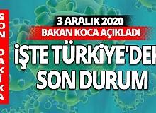 SON DAKİKA! 3 Aralık 2020 koronavirüs tablosu