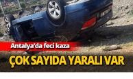 Antalya'da otomobil devrildi