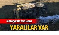 Antalya'da şarampole yuvarlandı