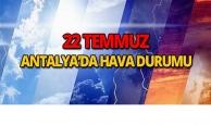 22 Temmuz 2018 Antalya'da hava durumu