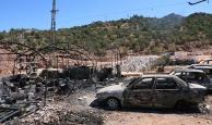 PKK'nın dün gece ateşe verdiği şantiyenin hasarı gündüz ortaya çıktı