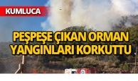 Kumluca'da eş zamanlı yangınlar paniğe neden oldu