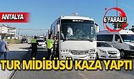Tur midibüsü tur otobüsüne çarptı! Yaralılar var