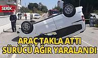Antalya'da devrilen araç sürücüsü ağır yaralandı
