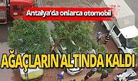Antalya'daki fırtınada ağaçlar otomobillerin üstüne düştü