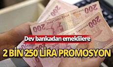 Dev bankadan emeklilere 2 bin 250 lira promosyon!