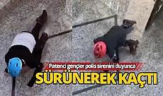 Patenci gençler polisten sürünerek kaçtı