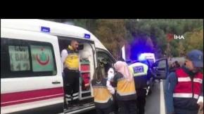 Akseki'de yolcu otobüsü devrildi!