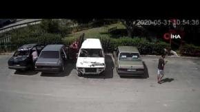 Araçlardan parça eksildiğini fark edip güvenlik kameralarını inceleyince şoke oldu
