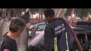 Bir gün önce aldığı otomobil yandı!
