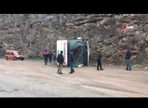 Yolcu otobüsü yan yattı: Çok sayıda yaralı var!