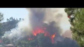 Manavgat yanıyor! 20 arazöz ve 6 helikopterle müdahale ediliyor
