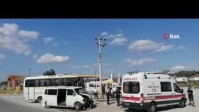 Servis midibüsü ile minibüs çarpıştı: Yaralılar var