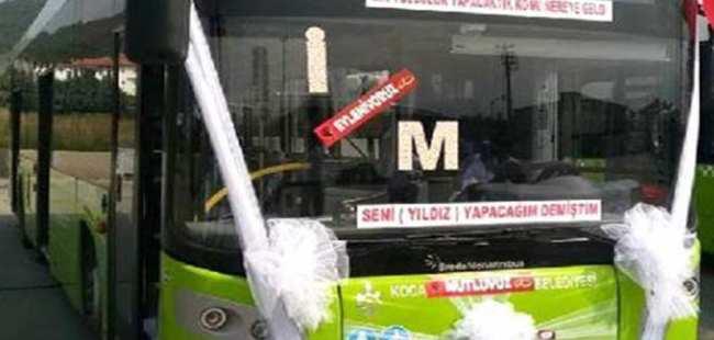 Belediye otobüsü gelin arabası oldu