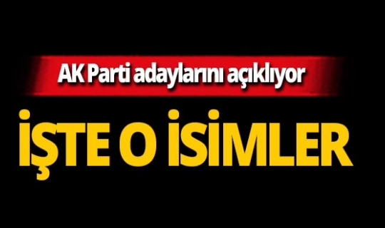 AK Parti o ildeki adaylarını açıklıyor! İşte o isimler!