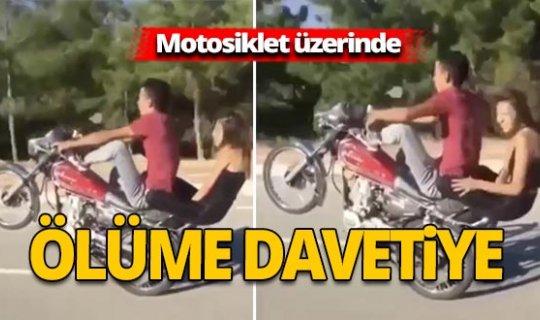 Antalya'da motosiklet üzerinde ölüme davetiye çıkardılar