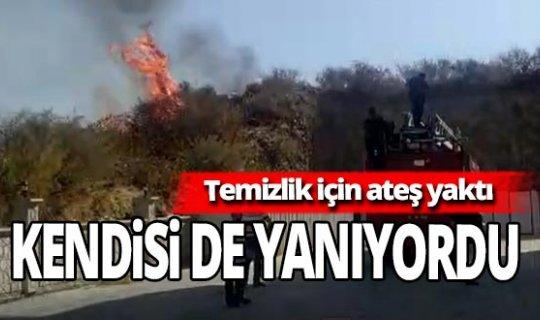 Antalya haber: Temizlik için yaktığı ateşi söndürmek isterken ağır yaralandı