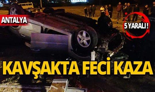 Feci kazada araç hurdaya döndü: 5 yaralı