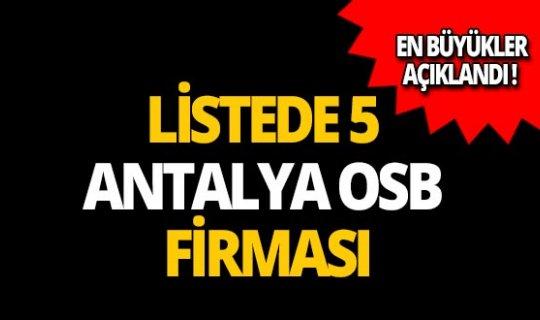İSO ilk 500'de 5 Antalya OSB firması!