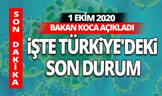 Son dakika! 1 Ekim 2020 Perşembe koronavirüs tablosu açıklandı