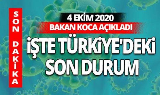 Son dakika: Türkiye'nin 4 Ekim 2020 Pazar günü COVİD-19 tablosu