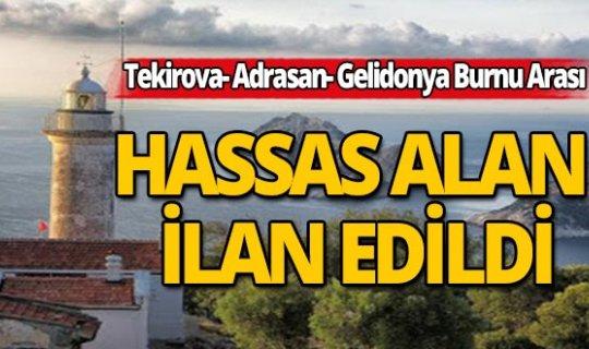 Tekirova- Adrasan- Gelidonya Burnu Arası  Resmi Gazete'de 'Hassas Alan' ilan edildi