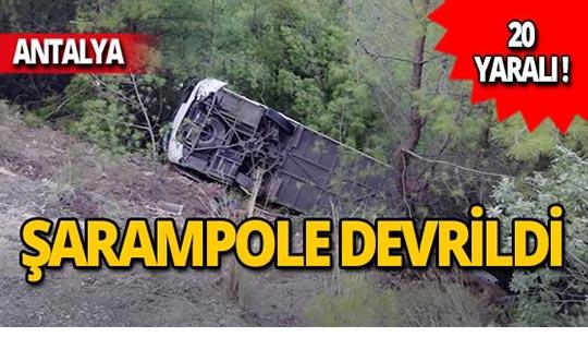 Tur otobüsü devrildi: 20 turist yaralandı!