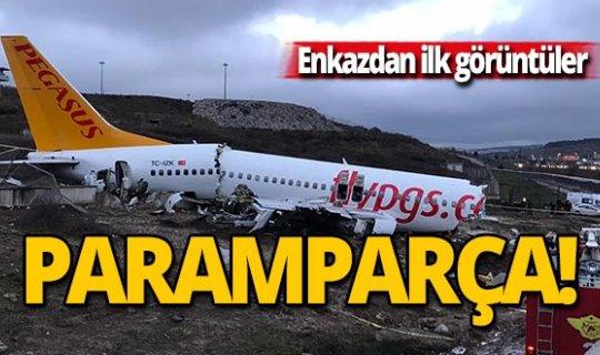 Uçağın enkazı görüntülendi