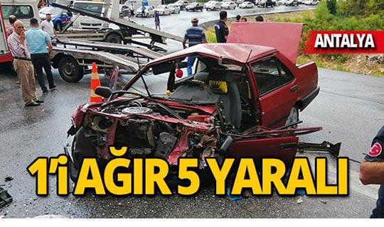 Yolcu otobüsü ile otomobil çarpıştı: 5 yaralı!