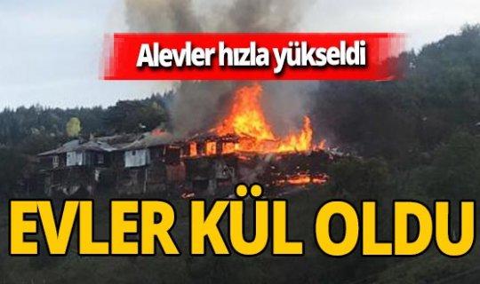 Ahşap evler alev alev yandı