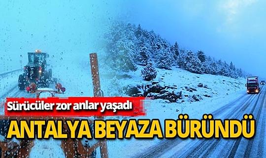 Antalya-Konya karayolunda kar yağışı sürücülere zor anlar yaşattı