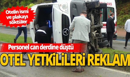 Antalya'da otel servis minibüsü devrildi