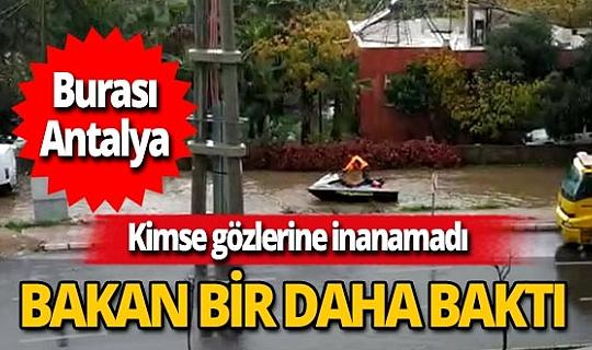 Antalya'da bir vatandaş göle dönen yolda jet ski kullandı