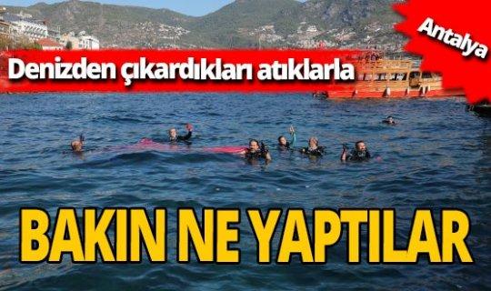 Antalya'da denizden topladıkları atıklarla heykel yaptılar