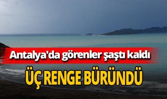 Antalya'da sağanak yağış sonrası deniz üç renge büründü