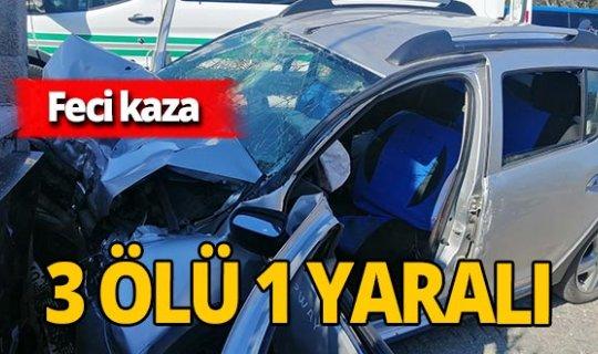 Araba duvara girdi: 3 ölü 1 yaralı!