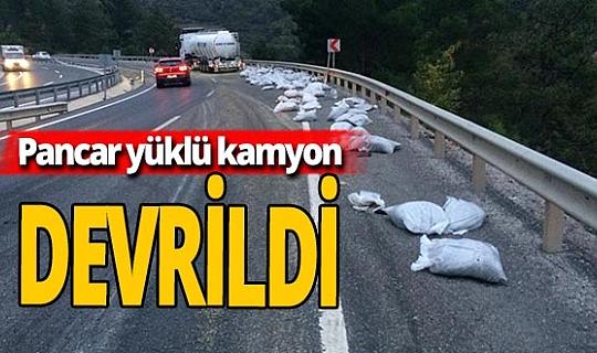 Balıkesir'de kamyon devrildi: 2 yaralı