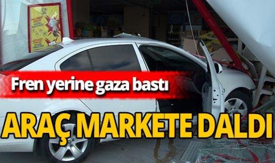 Başakşehir'de fren yerine gaza basan sürücü markete daldı