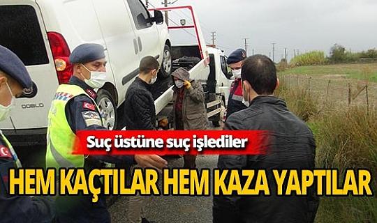 Cezaevinden izinli çıktılar, kaza yaptıkları araçta esrarla yakalandılar