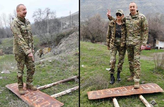 İlham Aliyev, Ermenice tabelanın üzerine çıkıp zafer pozu verdi