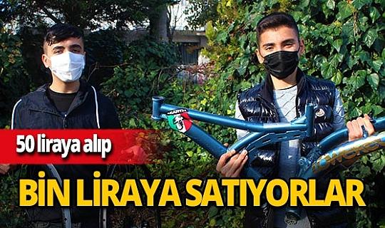 Gebze'de Mücahit Gırgıç ve Efe Demiral hurda demirleri bisiklete dönüştürüp satıyorlar