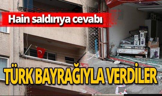 """İskenderun'daki patlamaya """"Türk bayrağı"""" cevabı!"""