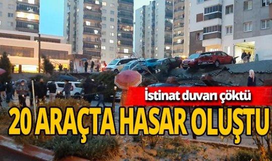 İzmir'de aşırı yağıştan istinat duvarını çöktü