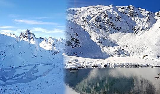 Karçal Dağı'nda göller ve akarsular buz tuttu